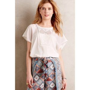 MEADOW RUE M Ivory Anele Blouse Peasant Top